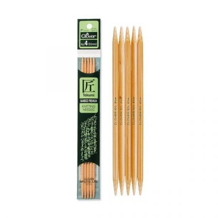 Clover: Takumi – Bamboo Double Pointed Knitting Needles 20cm/8