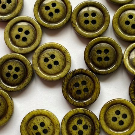 Olive Green stained bone glossy button