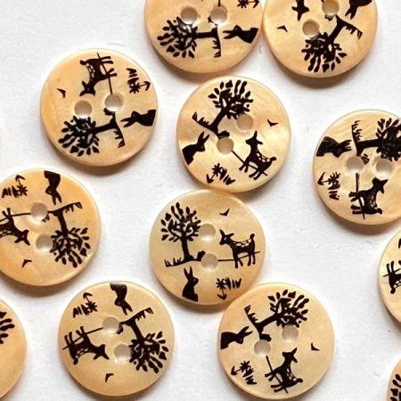 Peach matt river shell button with deer rabbit & trees