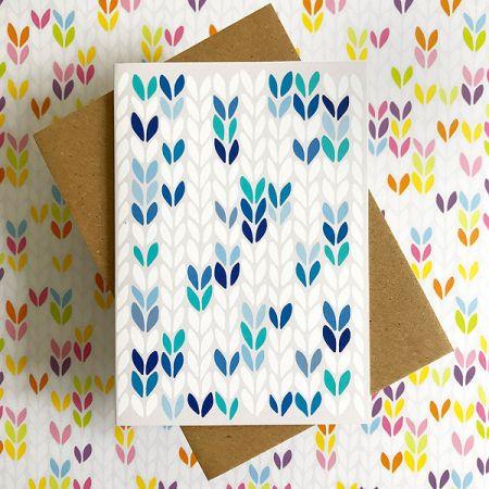 TillyFlop Designs: Greeting Card - Stockinette Stitch - Blue
