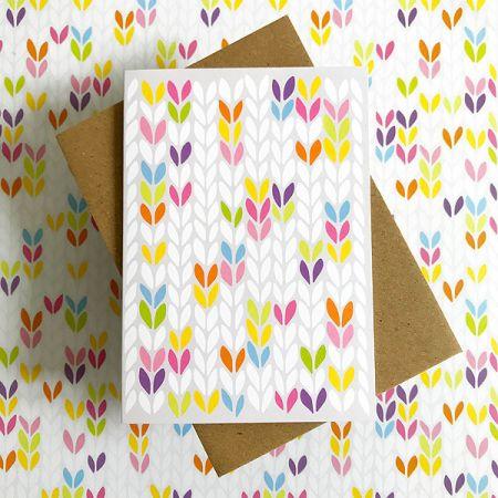 TillyFlop Designs: Greeting Card - Stockinette Stitch - Bright