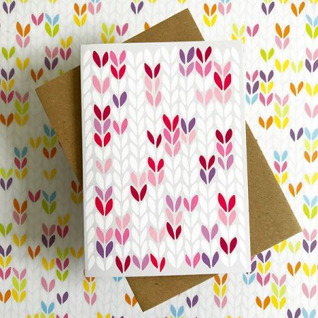 TillyFlop Designs: Greeting Card - Stockinette Stitch - Pink