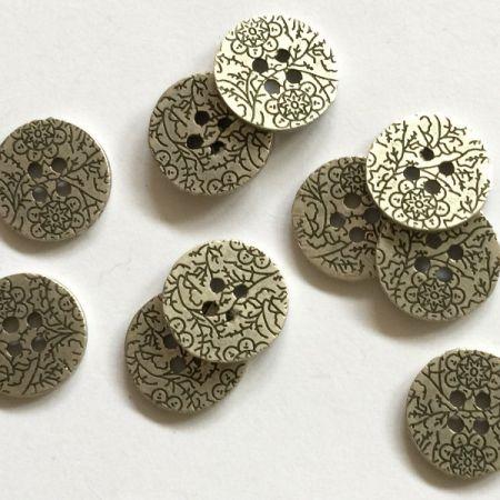Zinc colour button with floral pattern