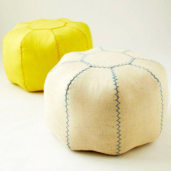 Make a pretty pouf - via better homes and gardens