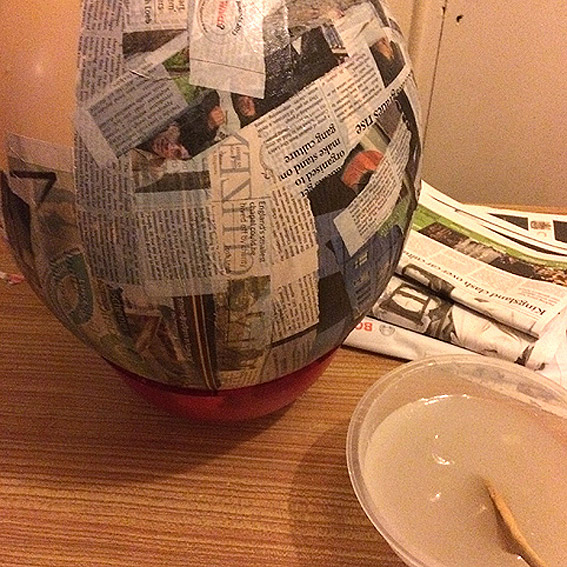 Paper Mache Egg in the making