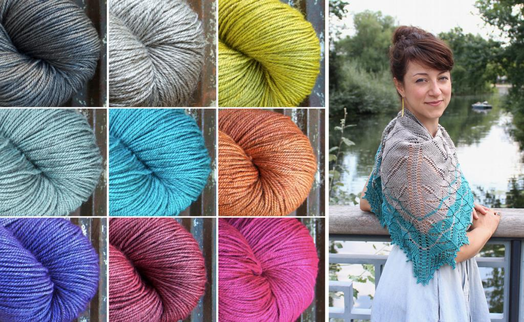 Renée Callahan's Naloa in BEYUL – colours 'Turquoise Tarn' and 'Yurt'. The Naloa pattern is available on Ravelry and in store.