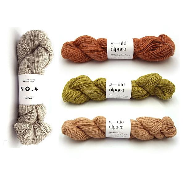 G-uld No. 4 in Undyed and G-uld Alpaca in KWA07, KWA18 and KWA12