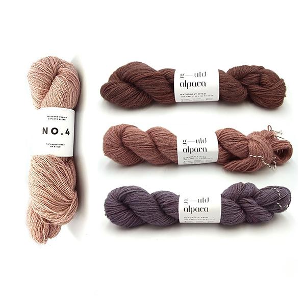 G-uld No. 4 in Cochineal Co20025g and G-uld Alpaca in KWA09, KWA04 and KWA02