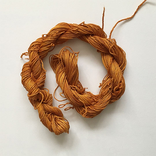 Linen Yarn dyed with onion skins