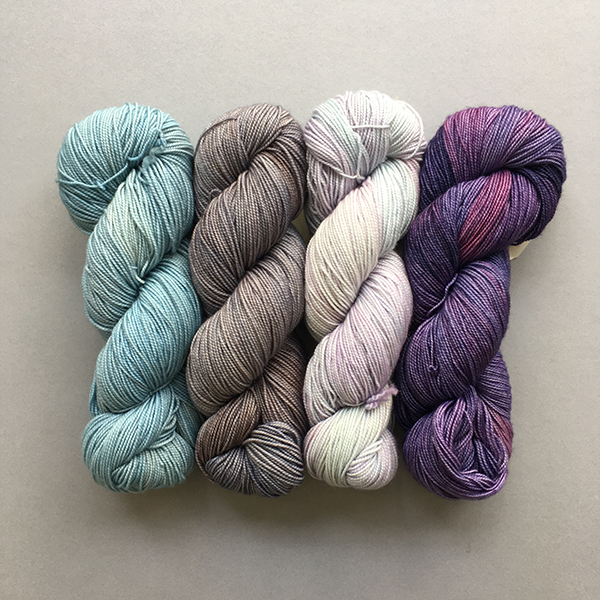 Wave: Fybersptes Vivacious 4ply in Shoreline, Pebble Beach, Heavenly and Blueberry Imps