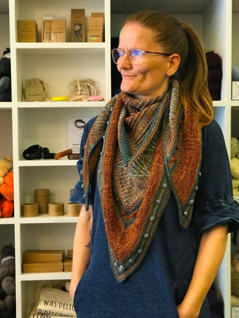 Maya wearing the shawl